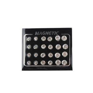 Pack von 12 Pairs Runde Kristall Magnetische Ohrringe für Männer Frauen 4 MM, 6 MM, 7MM