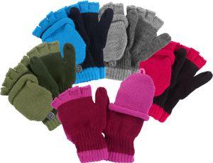 Halbfinger Handschuh mit Klappe in bunten Farben, Farben:grau, Handschuhgröße:3