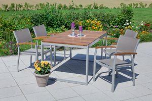Merxx 5tlg. Naxos Set - 4 Stapelsessel, 1 Ausziehtisch - Farbe: silber/ braun -  Maße: Sessel: 59x59x85 Tisch: 150/200 x90x74 cm; 4x 22000-309 + 1x 22004-219