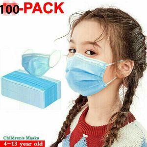100 Stk Einwegmasken für Kinder Kindergesichtsmaske Einweg-3-lagige Mundmaske Zufällig