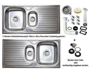 Edelstahl Einbauspüle 100 x 50cm Küchenspüle reversible  1,5 Becken 2 Spülbecken mit Abtropffläche