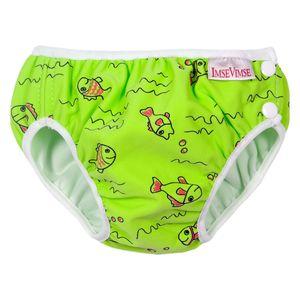 ImseVimse Schwimmwindel, grün mit Fischen, 4 bis 6kg Neugeborene