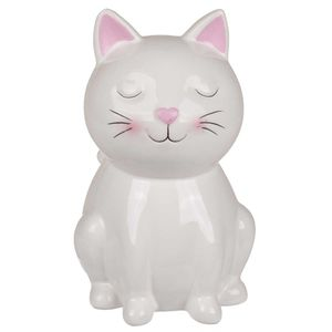 Keramik Spardose Weiße Katze mit Schloss