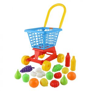 POLESIE Einkaufswagen mit Lebensmittel für Kaufladen Kinderspielzeug Supermarkt