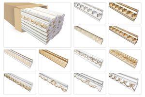 Stuckleisten gold gemustert, EPS Styropor formfest, Marbet Serie-B Sparpakete, Typ:B-24 super gold / 70x90mm, Menge:20 Meter / 10 Leisten