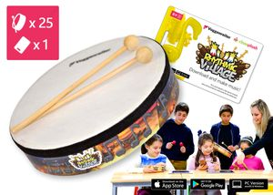 "Trommel-Kiste ""Rhythmic-Village"" 1 (1 x App + 25 Handtrommeln)"