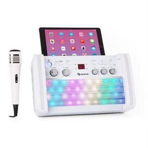 auna DiscoFever 2.0 Bluetooth-Karaokeanlage - Karaoke-Maschine, Karaoke-Set, CD-, CD+G-Player, Disco-LED, Halterung, inkl. Karaoke-CD+G und Handmikrofon, weiß
