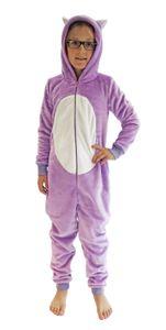 Mädchen Jumpsuit Overall Onesie Schlafanzug in niedlichen Tier Motiven - 291 467 97 606, Farbe:Katze, Größe:164