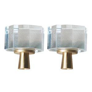 2Pcs Kabinett Knöpfe Küche Tür Knöpfe mit Schrauben, Schublade Knöpfe Glas Kristall Knöpfe für Schrank Hardware Achteckig 3x3,4 cm