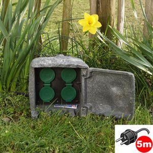 Außensteckdose Stein dunkelgrau 4fach 5m Steckdose Gartensteckdose Steinsteckdose