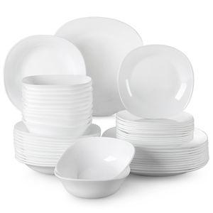 MALACASA, Serie Esmer, 48 tlg. Set Opalglas Tafelservice Essgeschirr mit 12 Dessertteller, 12 Suppenteller, 12 Essteller und 12 Müslischalen für 12 Personen