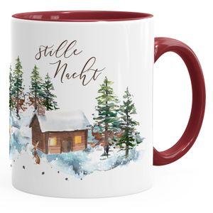 Weihnachts-Tase Stille Nacht Weihnachten Winter Schnee Silent Night Christmas Kaffeetasse Teetasse Keramiktasse Autiga® bordeauxrot unisize
