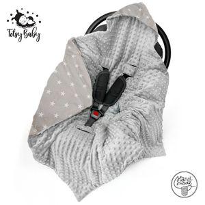 Einschlagdecke Babyschale Winter Babydecke Kinderwagen Decke für Winter Fußsack Grau mit Sternen Baumwolle Minky (grau, 90cmx90cm)