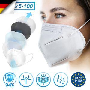 Virshields® FFP2 Mundschutz Maske - PFE 94%, CE 1437 , EN 149:2001+A1:2009, 5 Lagen, 5-100 Stück, Filtrierend,  EU, Weiß - Halbmaske, Atemschutzmaske, Schutzmaske