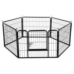 Yaheetech Welpenauslauf  6 eckig 80 x 60 cm Welpenlaufstall Laufstall Freilauf mit Tür