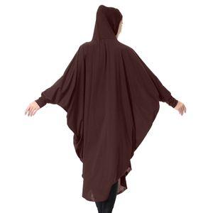 Muslimische Frauen Lange Hijab Islamischer Ramadan Araber Einfarbig Dame Schal Kopftuch Nahen Osten Robe mit Kapuze Hijabs Kleid[Khaki-XL]