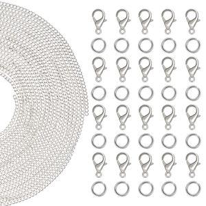 10 Meter Edelstahl Kabelkette mit 30 Sprungringe und 30 Karabinerverschluss für die Schmuckherstellung (61 Stuck)