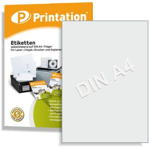 Printation Universal Etiketten 100 Stück 210 x 297 mm weiß selbstklebend bedruckbar - 100 DIN A4 Bogen á 1x1 210x297 Labels - 3478 6119 4631