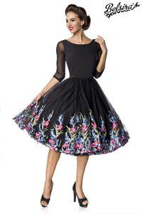 Belsira Premium besticktes Swing-Kleid, Farbe: Schwarz, Größe: XL