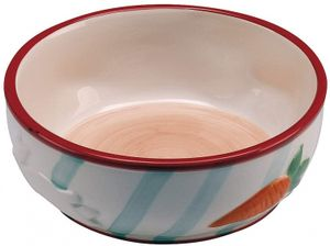 futternapf Kaninchen 10 cm 0,36 Liter Keramik weiß/rot