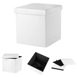 Sitzhocker in Weiß Sitzwürfel Sitzbank Truhe Fuß Bank Hocker faltbar Würfel