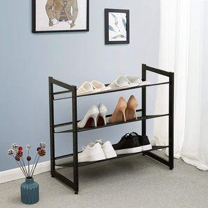 SONGMICS Schuhregal für 16 paar Schuhe aus Metallgewebe stapelbar verstellbare Schuhablage Schuhständer schwarz LMR03B