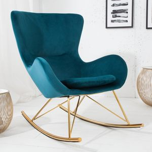 Design Schaukelstuhl SCANDINAVIA SWING türkis gold Samt Schaukelsessel Sessel Stuhl Relaxsessel