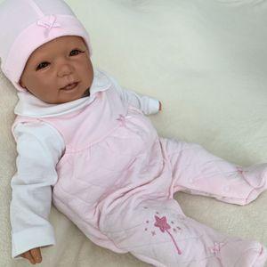 Baby Mädchen Set 3-teilig Strampler Shirt + Mütze Gr. 56 rosa weiß Winter