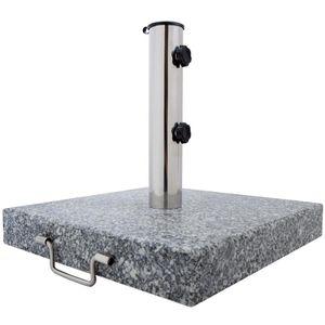 Anaterra Sonnenschirmständer, Schirmständer für den Garten oder Balkon aus Granit und Edelstahl, 25 kg eckig mit Griff und Rollen