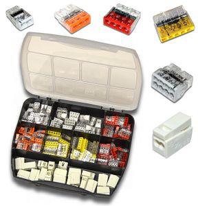 WAGO Sortimentsbox mit 165 Stück Verbindungsklemmen   Serie 2273 und 224   Box Steck-/ Leuchtenklemme
