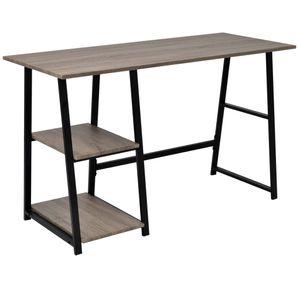 vidaXL Schreibtisch mit 2 Regalen Grau und Eiche