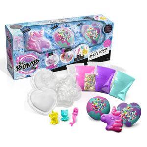 CANAL TOYS - SO BOMB DIY - Packung mit 3 Badebomben - Unicorn, Heart & Diamond - Machen Sie Ihre Badebomben sprudelnd!