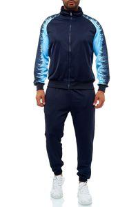 Herren Basic Trainingsanzug Streetwear Jogginganzug Sportanzug Fitness, Farben:Navy, Größe Hosen:M