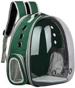 Katzenrucksack Hunderucksack Tragbare Haustier Rucksack Atmungsaktive Welpen Tasche mit Fenster Transportrucksack für Wandern Picknick Reisen Grün 31x29x42cm