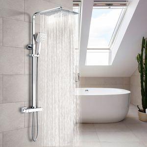 Meykoers Duschset Duschsäule Duschsystem mit Thermostat Regendusche und Handbrause NEU