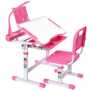 Kinderschreibtisch mit LED Lampe Höhenverstellbar Schülerschreibtisch Rosa mit Lampe Kindermöbel neigungsverstellbar Kindertisch mit Stuhl, Schreibtisch mit Schublade, Kindermöbel für Jungen und Mädchen Pink