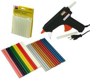 Heißklebepistole Set XL Klebesticks transparent bunt glitzer Pistole
