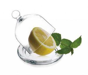 Transparente Glashaube mit Teller 9,5cm Zitronenglocke Zwiebelglocke Glasdom Glasglocke