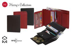 kleine handliche Geldbörse hoch weiches Nappa Leder mit RFID Schutz 3 Farben, Farben:schwarz
