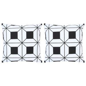 ILoveamber Kissen 2 Stk. Bedruckt Schwarz und Weiß 40 x 40 cm Baumwolle