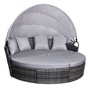 SVITA SAVANNAH Sonneninsel mit Dach Polyrattan-Lounge Gartenmuschel Rattanmöbel Gartenliege Grau