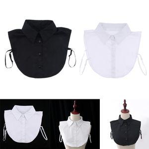 2er Set Damen Abnehmbar Kragen Baumwolle halb Shirt Bluse Ausschnitt  Weiß + Schwarz