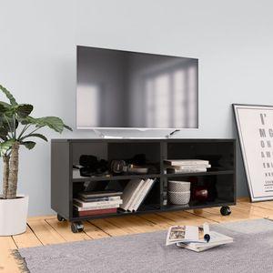 Huicheng TV-Schrank mit Rollen Hochglanz-Schwarz 90×35×35 cm Spanplatte