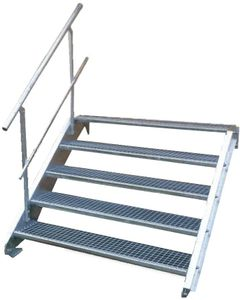 Stahltreppe 5 Stufen-Breite 100cm Variable-Höhe 70-105cm mit einseit. Geländer