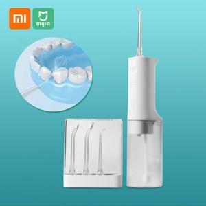 Xiaomi Mijia Munddusche Tragbares Wasser Zahnseide Wasserstrahl Reinigung Zahn Zahnstocher Mundstueck Zahnprothesenreiniger Zahnbuerste 2200mAh USB Wiederaufladbarer 200ml Wassertank