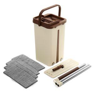 Hand-Free Flat Squeegee Mop und Bucket Wischmops + 4x Waschbar Superfeine Faser Mop Pads