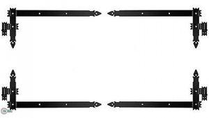 4 Winkelband Winkelbänder Türbänder Türband 800 x 340 x 50 + Kloben Schwarz