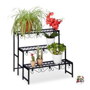 relaxdays Blumentreppe Metall mit 3 Stufen