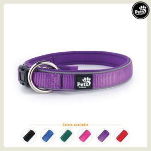 Pets&Partner® Hundehalsband aus Neopren, reflektierendes Halsband in verschiedenen Farben für große und kleine Hunde L 50-60 x 3,4 cm Violett