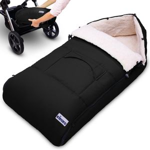 KIDUKU® Babyfußsack Schwarz Baby Winterfußsack Kinderfußsack Fußsack Winter Kinderwagen Buggy